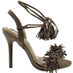 Shoes - TAUPE FRINGE OPEN TOE WOMANS TASSLE LACE UP HEELS